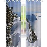 YUAZHOQI Cortina opaca de invierno para ventana del océano Pacífico con las montañas Vancouver Columbia Británica Canadá cortinas personalizadas de 132 x 160 cm, color blanco, verde oliva y azul