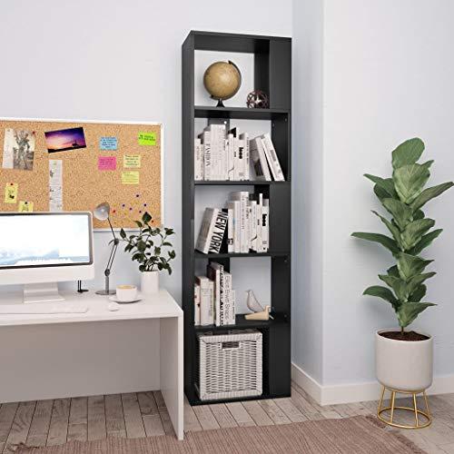Festnight Estantería/Divisor Espacio Aglomerado Librería Estantería Estantería para Libros Librería de Pared Librería Comedor Salon Negro 45x24x159 cm