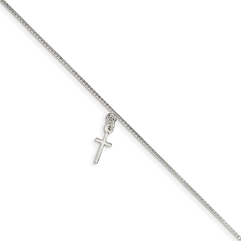 925 Sterling Silver Cross Religious Anklet Ankle Beach Chain Bracelet Fine Jewelry For Women Gift Set