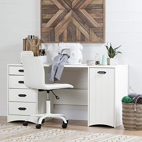 South Shore Artwork Sewing Craft Table with Storage Drawers and Scratchproof Surface, Pure White