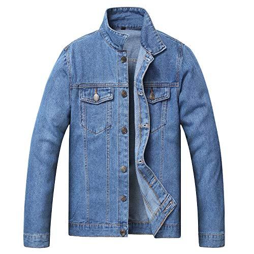 JYHER Men's Denim Jacket,Classic Ripped Slim Jean Coat Jacket with Holes