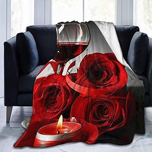 DWgatan Couverture,Couvre-lit de canapé Polyvalent Doux et Chaud de qualité Red Rose Wine Glass and Candle Printed Blanket for Bedroom Living Room Couch Bed Sofa -60\