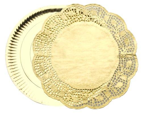 Ibili 729510 Lot de 3 Plats rond 32 cm + 3 Napperons rond 34 cm Or
