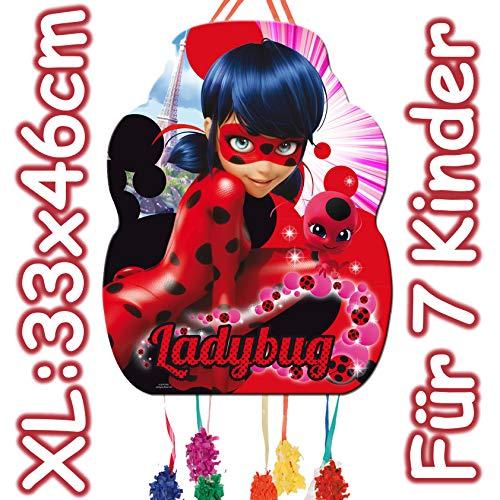 XL-Pinata * Miraculous Ladybug * - als Zugpinata für Kindergeburtstag   Größe: 33x46cm   Piñata für Kinder Geburtstag Spiele Spass