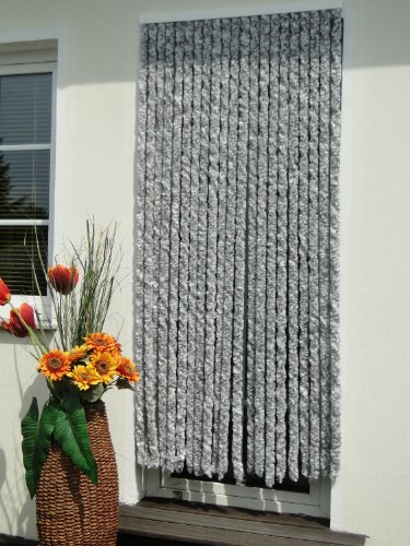 Tenda per porta con protezione dagli insetti, 115 x 230 cm (larghezza x altezza), colore bianco argento