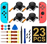 (4 Pack) Joycon Joystick Replacement, 3D Analog Thumb Sticks for Nintendo Switch Joy Con Controller with Full Repair Set [New Version]