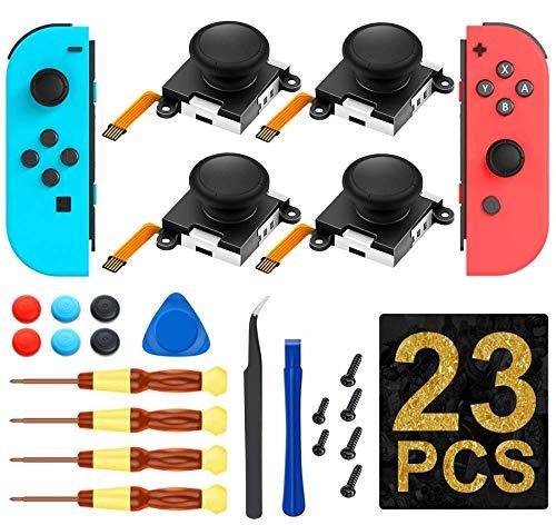Joycon Joystick- (4 Stück) 3D Joystick Analog Links/Rechts Daumensticks Sensorteile für Nintendo Switch Joy Con-Controller, komplettes werkzeug-Set (23-in-1)