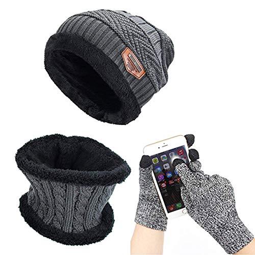 ASYBHYY Gorras Invierno Con Bufanda y Guantes Táctiles Antideslizante 3 en 1 de Punto Sombreros para Mujeres y Hombres, Gris