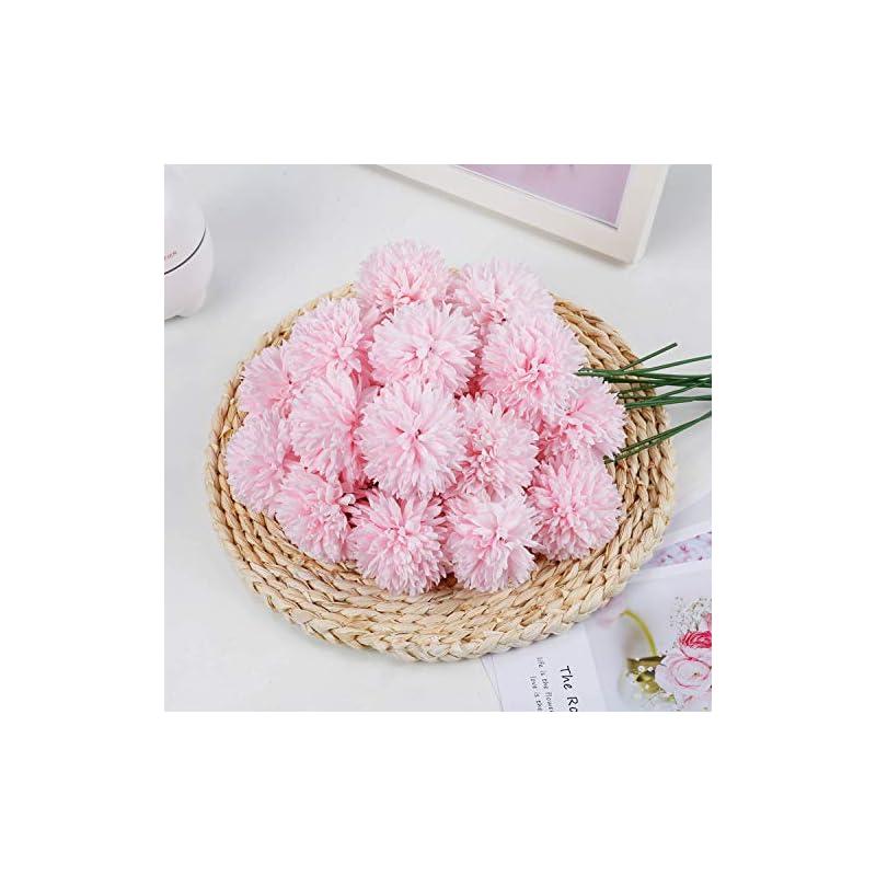 silk flower arrangements livilan artificial chrysanthemum ball pink 25 pcs fakepink flowers faux flowers bulk bridesmaid bouquets for weddinghomepartyoffice coffee shop decor