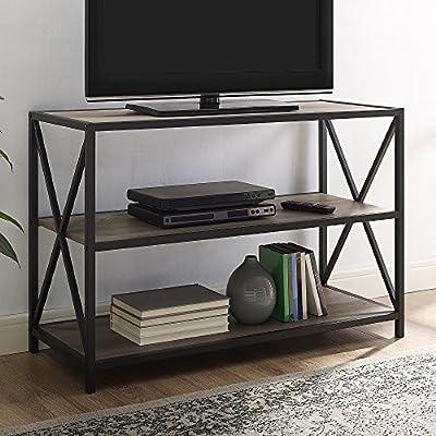 Walker Edison 2 Tier Open Shelf Industrial Wood Metal Bookcase Tall Bookshelf Home Office Storage, 40 Inch, Grey