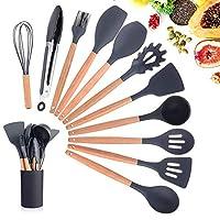 ekkong utensili cucina silicone,utensili cucina set,manico in legno duro utensili da cucina termoresistenti professionali resistente al calore e antiaderente strumento di cottura (12 pezzi)