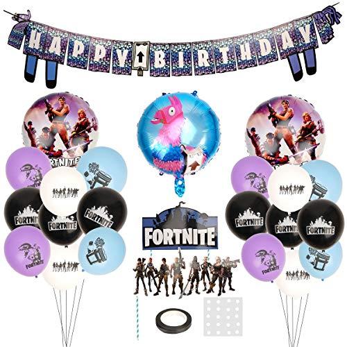 Herefun Artículos de Fiestas, Decoraciones para Cumpleaños de Tema de Videojuegos Artículos de Fiestas para Fanáticos de los Videojuegos Videojuegos Decoraciones para Niños(G)
