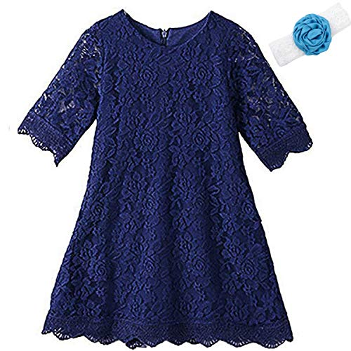 Homecoming Dresses for Teens Long High Low 7-16 Long Sleeve Gowns for Birthday Wedding Holiday Party 10-12 Years Old Navy Flower Lace Pageant Dress for Size 14 Elegant Princess (Navy 190)