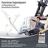 Sportstech X100-B / X150 X Bike 4in1 Heimtrainer mit Smartphone APP - einzigartiges Zugbandsystem Handpulssensoren Ergometer Hometrainer- Faltbares Fitness Fahrrad-Tablethalterung Rückenlehne klappbar