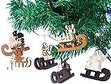 Brubaker 6-teiliges Set Schlitten Holzanhänger - Baumschmuck für den Weihnachtsbaum -...