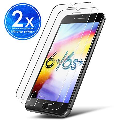 UTECTION 2X Schutzglas Folie für Apple iPhone 6 Plus / 6s Plus - Schutzfolie aus Glas gegen Bildschirmschäden - Passexakte Schutzglasfolie Anti Kratzer - Bildschirmschutzfolie Clear Durchsichtig