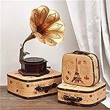 Vintage Suitcase Valigia Portatili di Legno Contenitore di Legno Antico Scatola di Finestra della Decorazione Display Puntelli di ripresa Home Storage Box (Color : C1, Size : M(29 * 26 * 10cm))