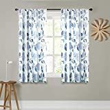 MRTREES Linen Textured Sheer Curtains 54 inches Long Living Room Blue Flower Leaves Printed Window Curtain Sheers Bedroom Drapes Print 2 Panels Light Filtering Window Treatment Set Rod Pocket