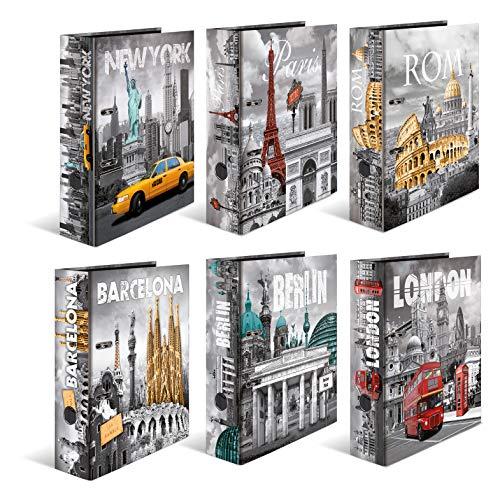 HERMA 7169 Motiv-Ordner DIN A4 Trendmetropolen 10er Set, 7 cm breit aus stabilem Karton mit Städte Innendruck, Ringordner, Aktenordner, Briefordner, 10 Ordner