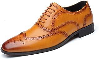 PRAFN Zapatos Oxford Hombre Zapatos de Cuero con Cordones Brogue Vestir Derby Informal Negocios Boda Calzado Respirable