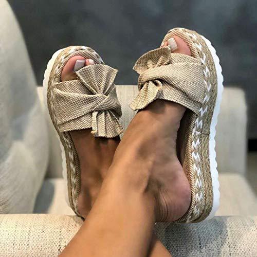 Zapatillas Sandalias Zapatos Mujer Sandalias con Lazo y Zapatillas Interior Interior Chanclas Zapatos de Playa Zapatillas Mujer Chanclas 40 Beige