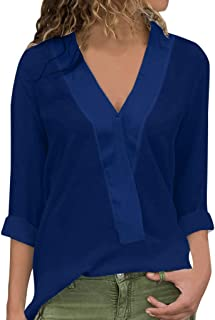 An Ping Fashion Womens Loose Fit Long Sleeve V-Neck Chiffon T-Shirt Tops Blouse