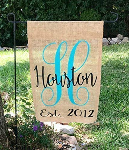 Personalized Initial and Established Last Name Burlap Garden...
