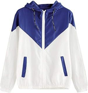 Beebeauty Women's Color Block Drawstring Hooded Zip up Sports Jacket Windproof Windbreaker