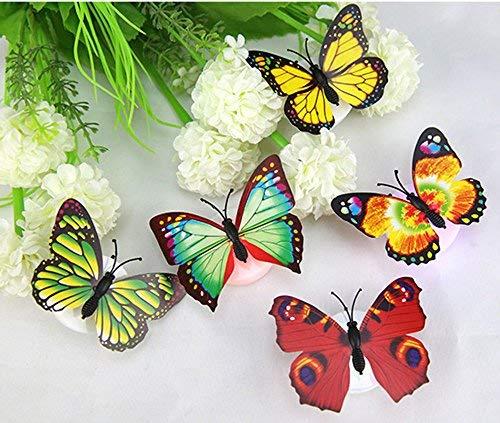 Dapei20Pcs LED Schmetterling Nachtlicht mit Saugnapf Leuchtender Schmetterling Leuchten Buntes änderndes LED Bunt Schmetterling Wanddeko Licht Beleuchtung Nachtlicht für Party Kinderzimmer