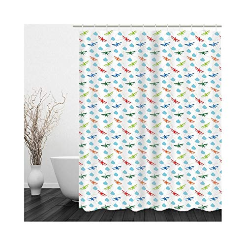 Gnzoe Hotel Quality Fabric Shower Curtain, Polyester Toy Airplane Clouds Shower Curtain for Bathroom White Blue Red Green 48x72 inch