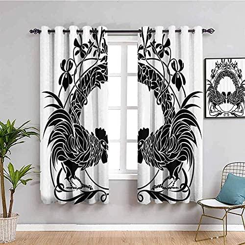 LWXBJX Opacas Cortinas Dormitorio - Blanco Gallo Animal Simple - Impresión 3D Aislantes de Frío y Calor 90% Opacas Cortinas - 140 x 160 cm - Salon Cocina Habitacion Niño Moderna Decorativa