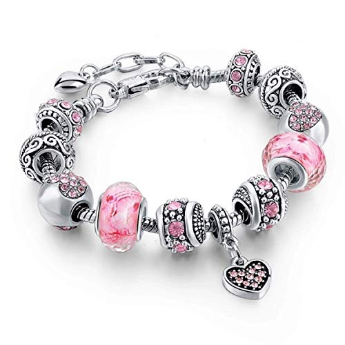 Capital Charms Pink Hearts Silver Plated Charm Bracelets for Women and Teen Girls, Jewelry Gifts Set with Beads, Charms, and Snake Chain Extender, Fits 7.5' + 1.5'