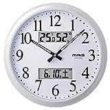 MAG(マグ) 掛け時計 電波 アナログ ダブルリンク 直径33.8cm 環境目安 六曜 温度 湿度 カレンダー表示 ホワイト W-711WH