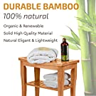 Premium Bamboo Shower Bench with Shelf - Wooden 2-Tier Bathroom and Shoe Organizer with Storage Shelf #2