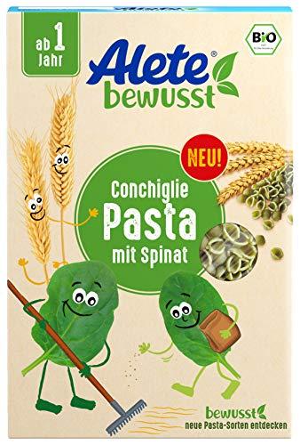 Alete bewusst Bio Nudeln Conchiglie, ab 1 Jahr, Pasta mit Spinat, 250 gramm