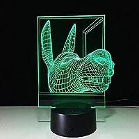 giyiohok3Dイリュージョンライトノベルティライトクリエイティブタッチデスクトップランプタッチスイッチ3Dランプビジョンステレオランプ7色変化する家の装飾-N2