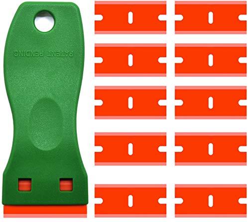 Mini raspador de plástico de doble filo, raspador de plástico con raspador con 10 cuchillas de afeitar de plástico para quitar etiquetas, pegatinas y calcomanías (raspador verde + 10 cuchillas)
