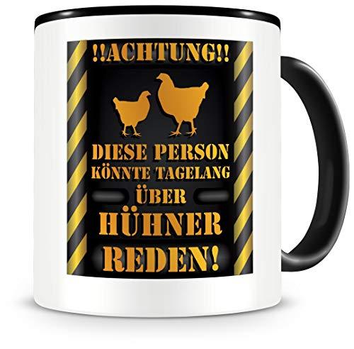 Samunshi® Hühner Tasse mit Spruch Geschenk für Hühner Fans Männer Frauen Kaffeetasse groß Tasse Huhn Tassen zum Geburtstag schwarz 300ml
