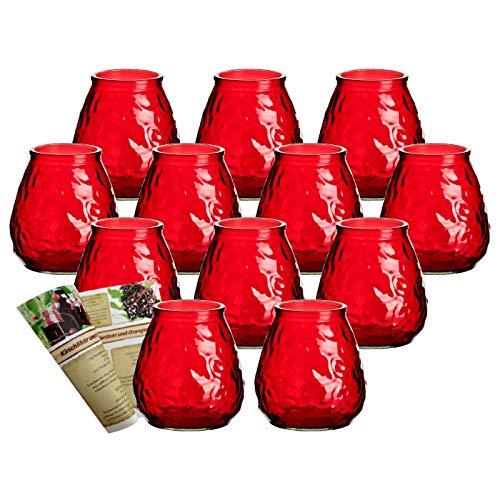 gouveo 12er Set Teelichtgläser Antik Rot und 28-seitige Flaschendiscount-Rezeptbroschüre Windlichter, Windlichthalter, Vase
