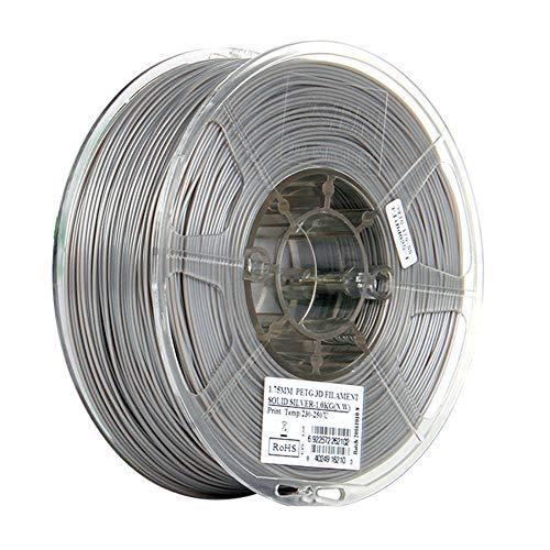 PETG Filament 1.75mm, 3D Printer Filament 1kg (2.2lb), High Transparency and Toughness FDM Material-Pure Silver