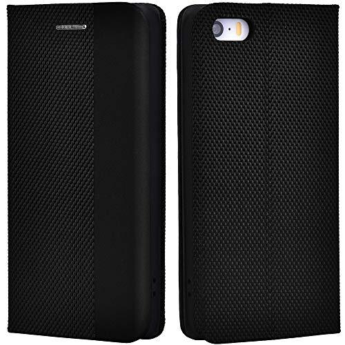 Airkuco Funda de piel con tapa para Apple iPhone 5/5S/SE, color negro
