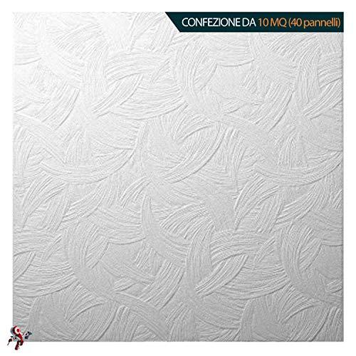 ZAGREB APE Pannello polistirolo decorativo per soffitto e parete effetto 3D isolante termico - spessore 1cm - dimensioni 50x50cm decosa, Confezione da 10mq (40 pannelli)