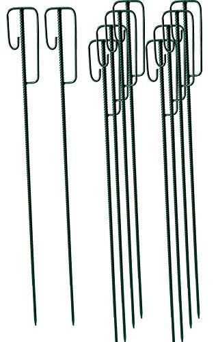 UvV® Absperrleinenhalter grün Ø14 L 1200 mm (10 Stück) Laterneneisen mit UVV-Bügel für Fangzaun, Kunststoffzaun auf Rolle