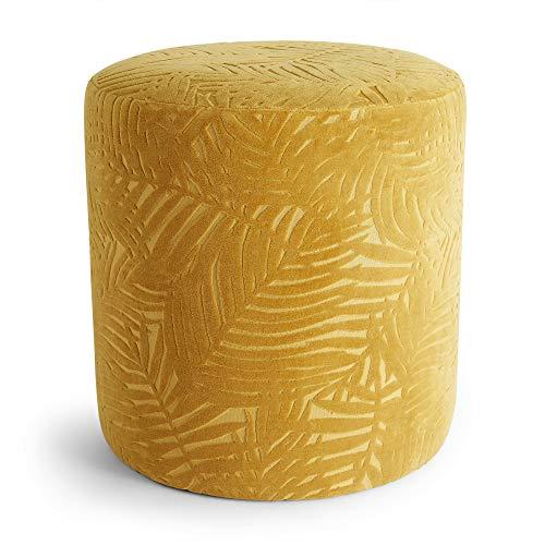 Beautify Sgabello in Velluto Jacquard - Tessuto Giallo Senape - Design a Foglie - Pouf Sedile - Spogliatoio - Tondo