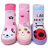 Adorel Calcetines Zapatos Antideslizantes para Bebé 3 Pares Conejito & Oso & Escarabajo 23 EU (Tamaño del Fabricante 15)