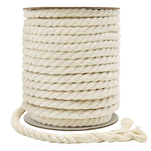 Tenn Well 8mm Cotton Cord, 59 Feet 3Ply Twisted Macrame Cotton Rope for Crafts, Wall Hangings, Plant Hangers, Knotting (Beige)