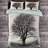 Toopeek - Juego de 3 fundas de edredón y 2 fundas de almohada, diseño de árbol solitario en campo con muchas ramas sin hojas, poliéster vintage (King), color marfil y gris oscuro
