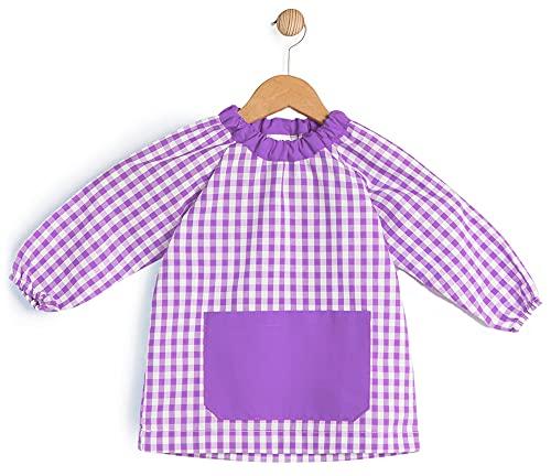 BeBright Babi Escolar Infantil sin Botones, Bata Escolar Niña y Niño, Mandilón de Guardería- Fabricado en España (Lila, 1-2 años)