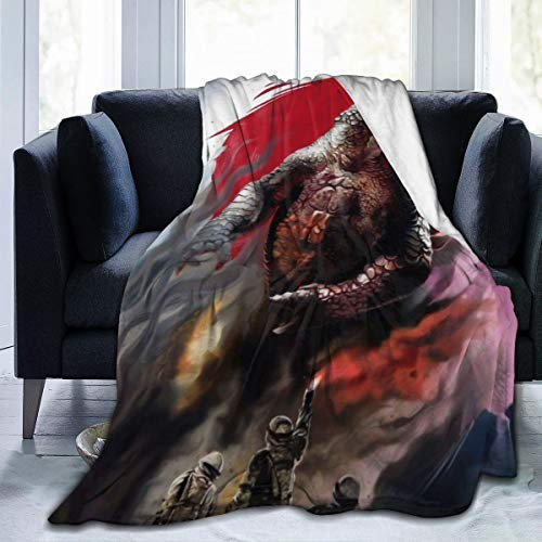 QUEMIN Mantas de Cama de Forro Polar Divertidas, Godzilla Monster Fan Art Mantas de Tiro navideñas, Manta de Regalo Ligera súper Suave para Hombres Silla de Coche