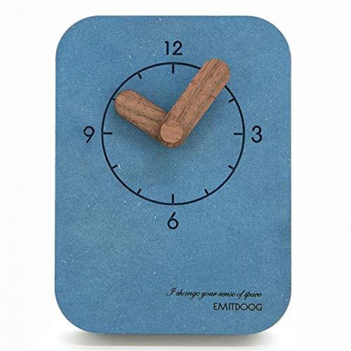 Reloj de Mesa Tabla Creativa del Reloj silencioso con Pilas Decorativo for Office Hijos Adultos Home Living Reloj de Mesa Antiguo Retro (Color : Yellow, Size : 10x1.8x13.5cm)